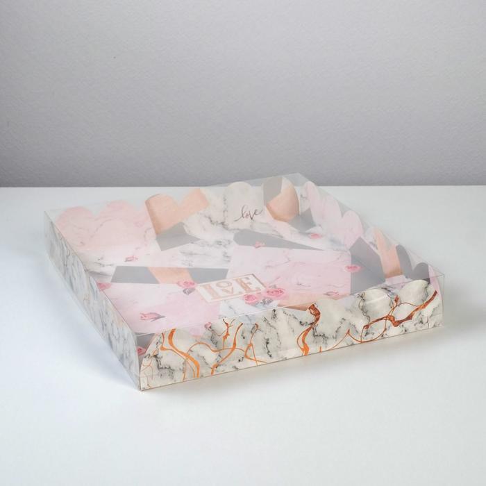Коробка подарочная с PVC-крышкой Love, 35 × 35 × 6 см - фото 308984994