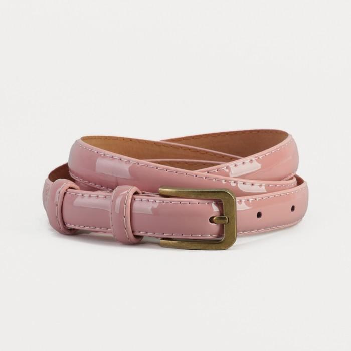 Ремень, гладкий, ширина - 1,8 см, пряжка матовое золото, цвет розовый