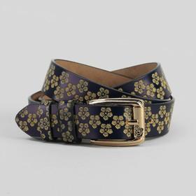 Ремень женский, цветы, перфорация, ширина - 3 см, пряжка золото, цвет синий