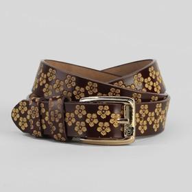 Ремень женский, цветы, перфорация, ширина - 3 см, пряжка золото, цвет коричневый