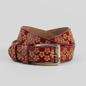 Ремень женский, цветы, перфорация, ширина - 3 см, пряжка золото, цвет бордовый