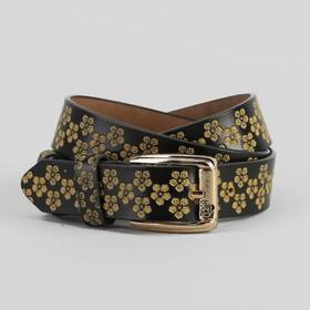 Ремень женский, цветы, перфорация, ширина - 3 см, пряжка золото, цвет чёрный