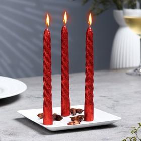 Набор свечей витых, 1,5х 15 см, 3 штуки, красный блистер