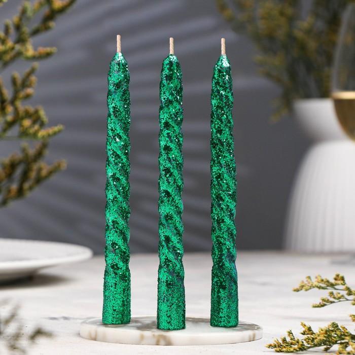 Набор свечей витых 15см, 3шт, зелёный, блистер