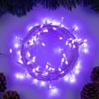 """Гирлянда """"Нить"""", 10 м, LED-100-220V, 8 режимов, нить прозрачная, свечение фиолетовое"""