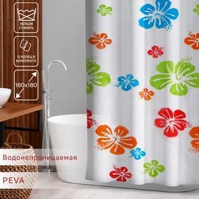 Штора для ванной комнаты Доляна «Гавайская роза», 180×180 см, EVA