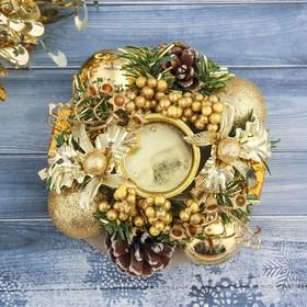 """Подсвечник на одну свечу """"Рождество"""" с шишками и золотыми шариками 13*5 см в Донецке"""