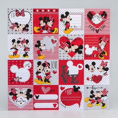 """Paper for scrapbooking 30,5*30,5 """"Love"""" Mickey mouse and friends"""