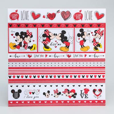 "Paper for scrapbooking 30,5*30,5 ""Love"" Mickey mouse and friends"