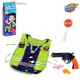 Игровой набор для мальчиков 'ДПС' (жилет, пист, жезл, 3 пули , свист, удостоер), 38 х 32 см Ош