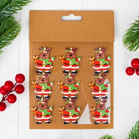 """Christmas decor-stickers """"Deer with gift"""", set of 9 PCs"""