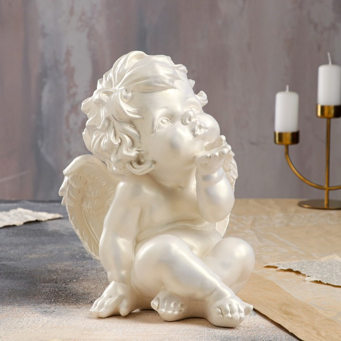 """Статуэтка """"Ангел поцелуй"""" перламутровая, 28 см - фото 727514099"""