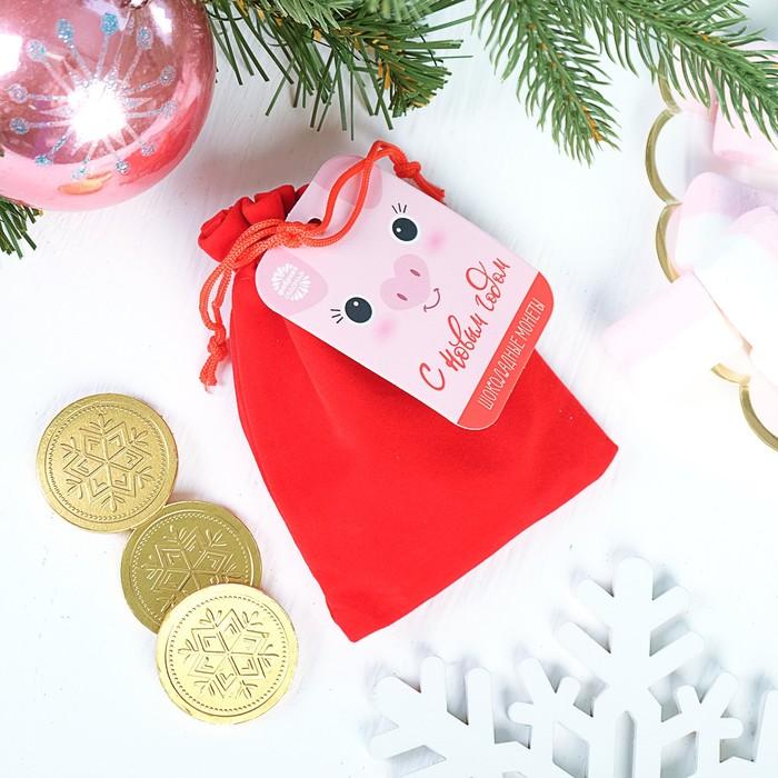 """Шоколадные монеты в мешочке, 10 шт. """"С новым годом"""""""