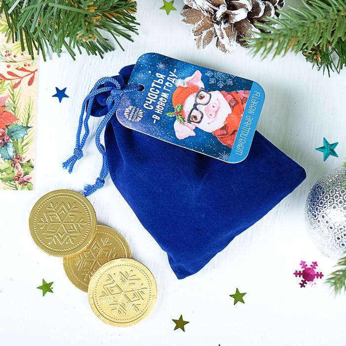 """Шоколадные монеты в мешочке, 10 шт. """"Счастья в новом году"""""""
