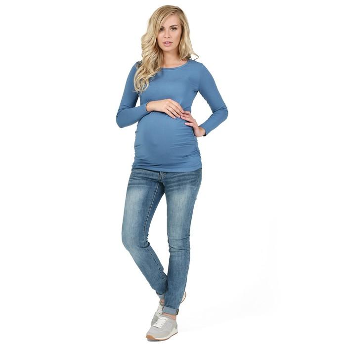 Лонгслив для беременных, цвет деним, размер 42