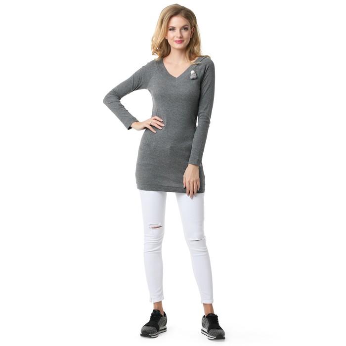 Пуловер для беременных, цвет серый меланж, размер 42