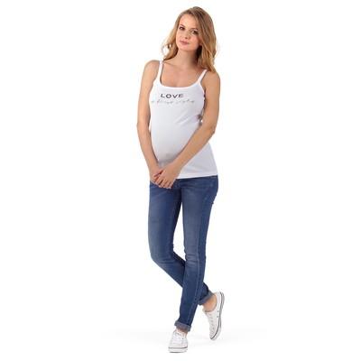Майка для беременных цвет белый принт, р-р 50