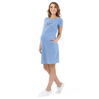 Платье для беременных 45182 цвет деним белый, р-р 46