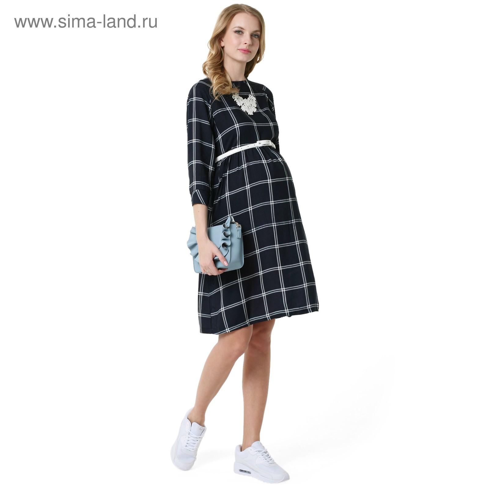 2287ba5dba2e1b0 Платье для беременных 100327 цвет синий клетка, р-р 42 (3814515 ...