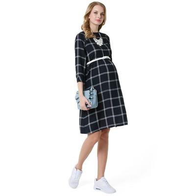 Платье для беременных 100327 цвет синий клетка, р-р 42