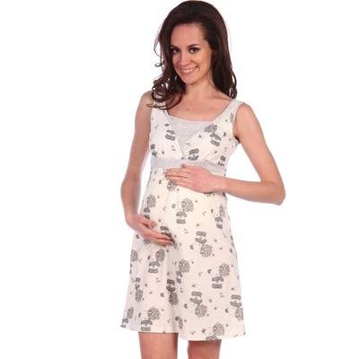 Сорочка для беременных и кормящих цвет бежевый, р-р 44
