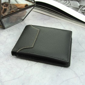 Портмоне мужское, 2 отдела, для карт, для монет, цвет чёрный