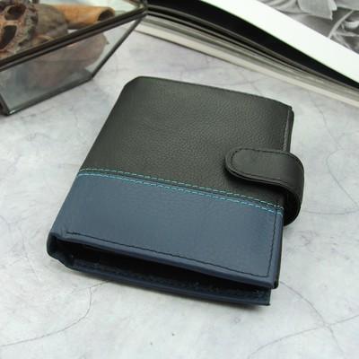 Портмоне мужское 3 в 1 (автодокументы+паспорт), 2 отдела, для карт, для монет, цвет чёрный/синий