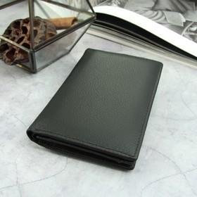 Портмоне мужское, 2 отдела, для карт, для монет, для документов, цвет чёрный