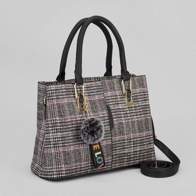 Сумка женская, 2 отдела на молниях, наружный карман, длинный ремень, цвет серый/розовый
