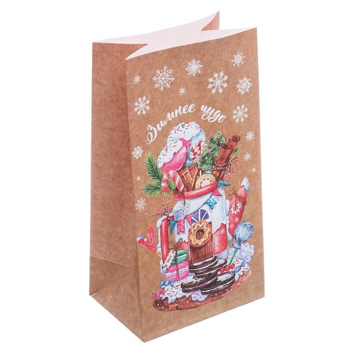 Пакет подарочный без ручек «Зимнее чудо», 10 × 19,5 × 7 см