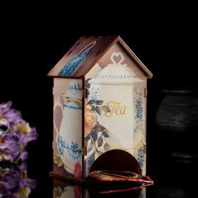 """Чайный домик """"Сервиз"""" с УФ-печатью, 8,5х9,5х16см"""