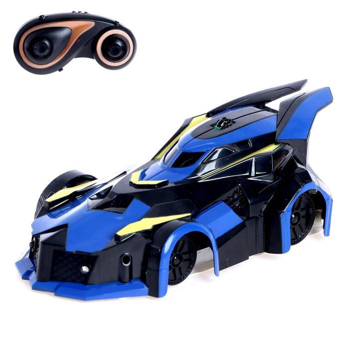 Антигравитационная машинка «СпортКар», радиоуправление, аккумулятор, ездит по стенам, свет, цвет синий - фото 105647210