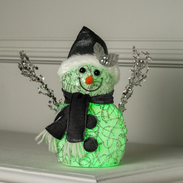 """Фигура световая """"Снеговик"""", 18,5х9,5х9,5 см, от батареек (в компл.), RGB"""