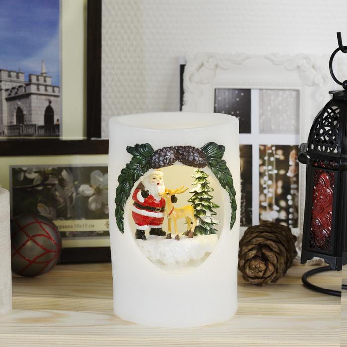 """Фигура световая новогодняя свеча """"Дед Мороз и Олень"""", 16х11х11 см, от бат 3*АА(не в компл.)   366943"""