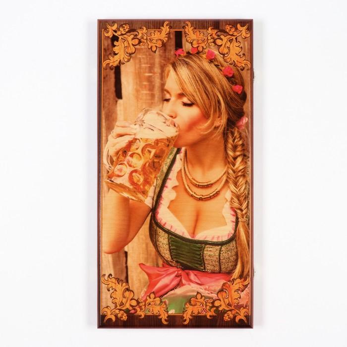 """Нарды """"Я люблю пиво"""", деревянная доска 60х60 см, с полем для игры в шашки"""