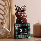 """Календарь настольный дерево """"Сова у камина"""" 9,5х4х17 см"""