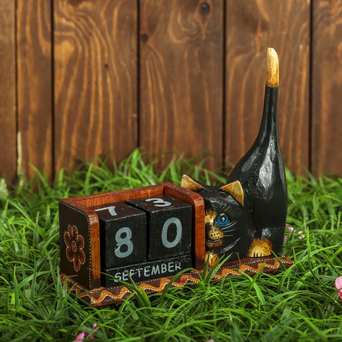 """Календарь настольный дерево """"Тёмная кошка"""" 22х6,5х17 см"""