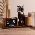 """Календарь настольный дерево """"Задумчивая сова"""" 20х6х15 см"""