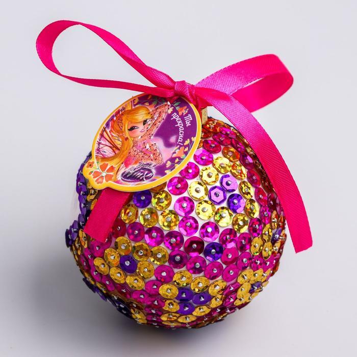 """Новогодний ёлочный шар """"Ты прекрасна"""" феи ВИНКС: Стелла с пайетками"""