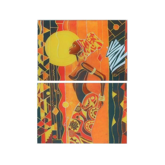 """Модульная картина на стекле """"Под африканским солнцем"""" (2шт-28*40 см) 56х40см"""