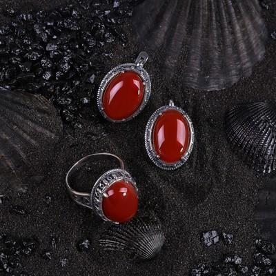 """Гарнитур посеребрение 2 предмета: серьги, кольцо, антик """"Сердолик"""" 18,5 размер"""