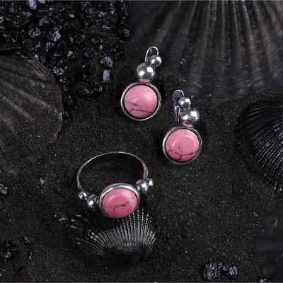 """Гарнитур посеребрение 2 предмета: серьги, кольцо, роса """"Коралл"""", 17,5 размер"""
