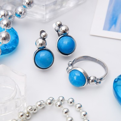 """Гарнитур посеребрение 2 предмета: серьги, кольцо, роса """"Агат голубой"""", 18 размер"""