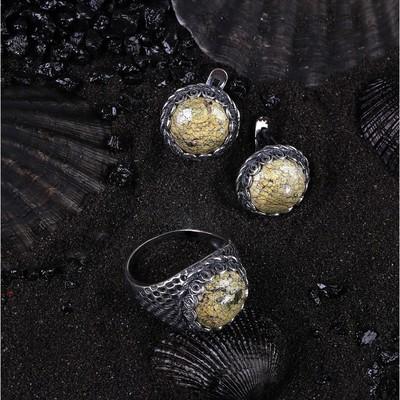 """Гарнитур посеребрение 2 предмета: серьги, кольцо, соты """"Змеевик"""", 18,5 размер"""