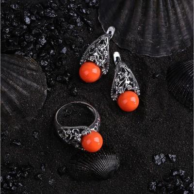 """Гарнитур посеребрение 2 предмета: серьги, кольцо, бутон """"Коралл розовый"""", 17,5 размер"""