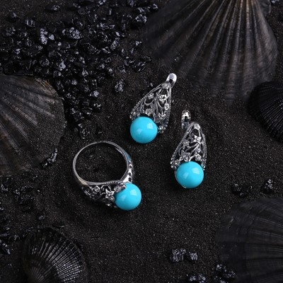 """Гарнитур посеребрение 2 предмета: серьги, кольцо, бутон """"Агат голубой"""", 18,5 размер"""