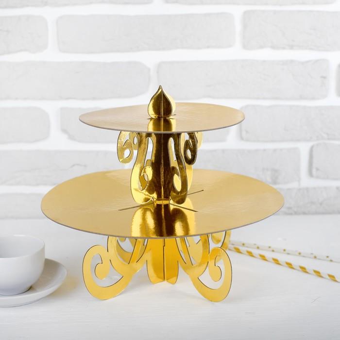 Подставка-подсвечник для кексов, цвет золото
