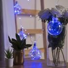 """Гирлянда """"Нить"""" с насадками """"Лампочки"""" 2 м, 6 х10 см, 100 LED-12V, адаптер в комплекте, свечение синее"""