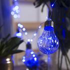 """Гирлянда """"Нить"""" с насадками """"Лампочки объемные"""" 10 шт, 100 LED-12V, адаптер в комплекте, свечение синее"""