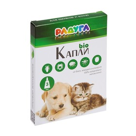 Капли 'Радуга БИО' для щенков и котят от блох, клещей, комаров, 3 х 1 мл Ош